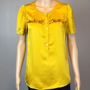 J crew yellow gold 100% silk ruffle SS blouse top